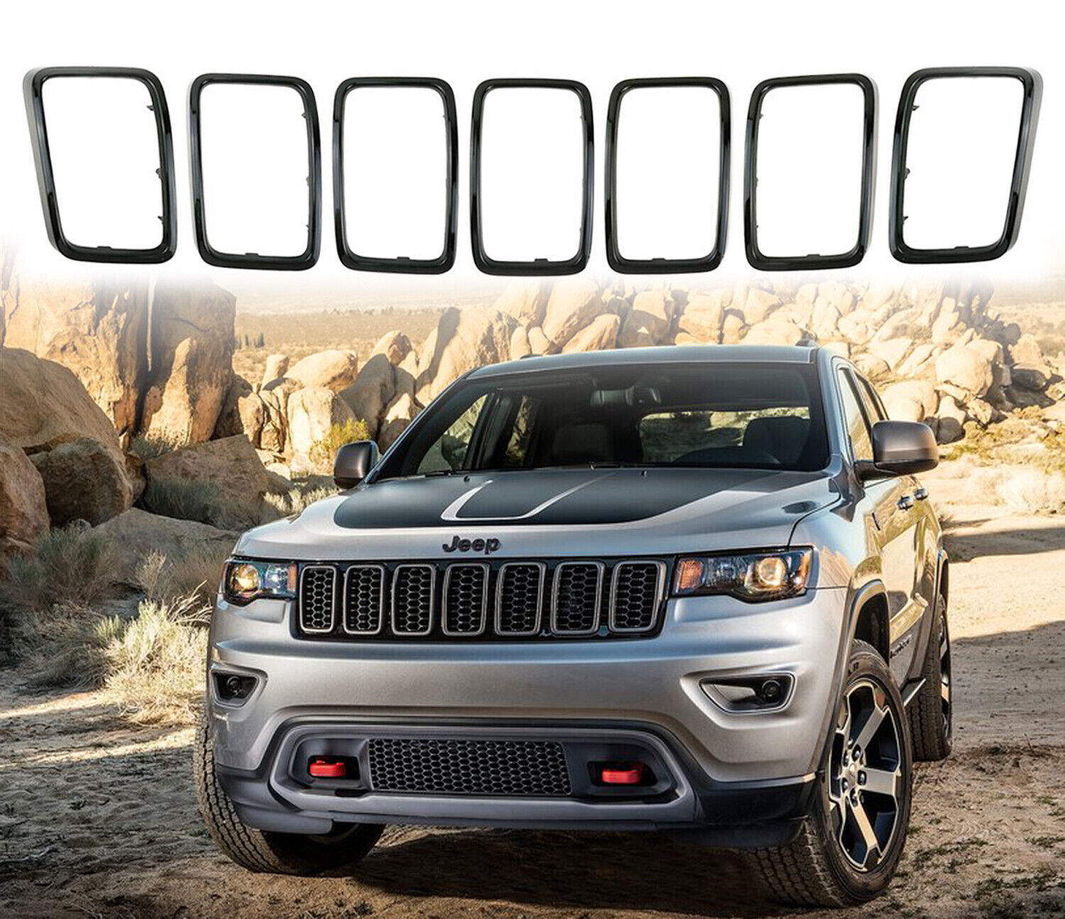 Black Grill Inserts Rings Front Grille For Jeep Grand Cherokee 2017 2021 Rims Ebay