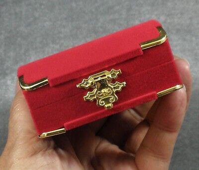 Red Gold Flocked Velvet White Satin Hinged Necklace Pendant Earring Gift Box Cherry Satin Gold Pendant