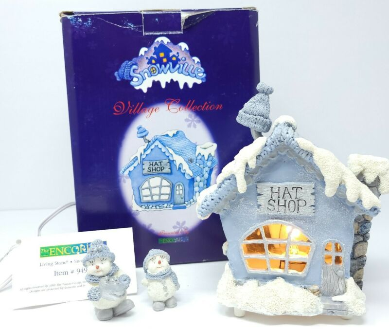 SNOWVILLE VILLAGE THE HAT SHOP Lighted 2 figurines #94900 Vtg 1999 ENCORE