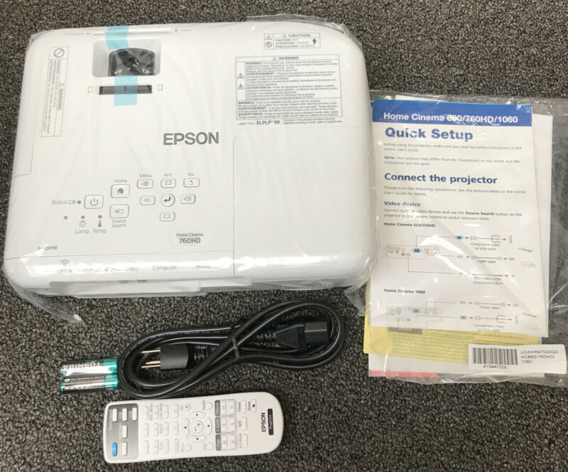 Epson HC760 760HD 3300 Lumens Home Cinema Projector Built-in  speaker