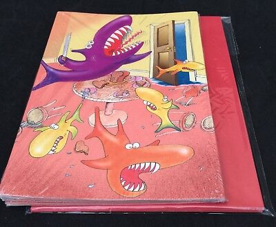 Pack of 6 Shark Chaos Greetings Cards & Envelopes - Blank For Own Message
