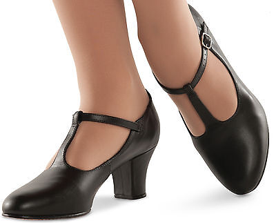 Broadway T Strap Character Stage Shoe Dance Black Or Tan
