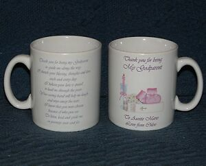 PERSONALISED MUG GODPARENT CHRISTENING THANK YOU GIFT