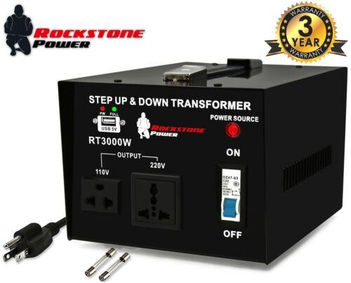 3000 Watt Voltage Converter Transformer Step Up/Down 110V/120V/220V/240V Power