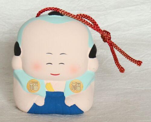 Japanese Vintage Clay Bell Fukusuke Doll Samurai Handmade Lucky Charm Dorei