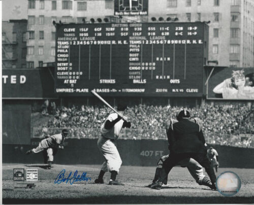 Cleveland Indians Bob Feller autographed 8x10 photo pitching to NYY Joe DiMaggio