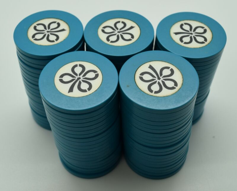 100 Bud Jones Speed Check Teal Chips with Shamrock Design