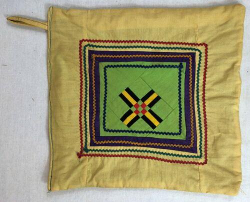 Seminole Vintage Indian Tribe Pot Holder Colorful Design Patchwork Craft Art