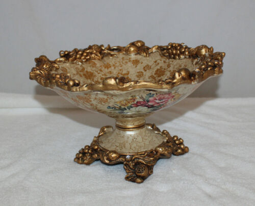 Vintage Floral Candy Serving Footed Bowl
