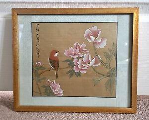 9 framed Chinese paintings of birds/butterflies/flowers $70each.