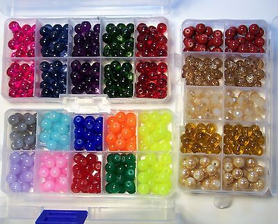ASSORTED MIX 7-8MM GLASS BEADS-450 PCS-3 SMALL STORAGE BOXES-JEWELRY SUPPLIES