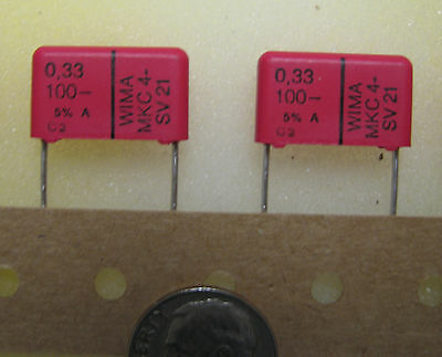 Wima .33uf 100v 5 Mkc4 Polycarbonate Capacitors Audio Grade 10 Pcs