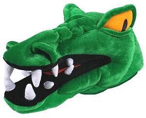 Plush Green Crocodile  Alligator With Yellow Eyes and Big Teeth Costume Hat
