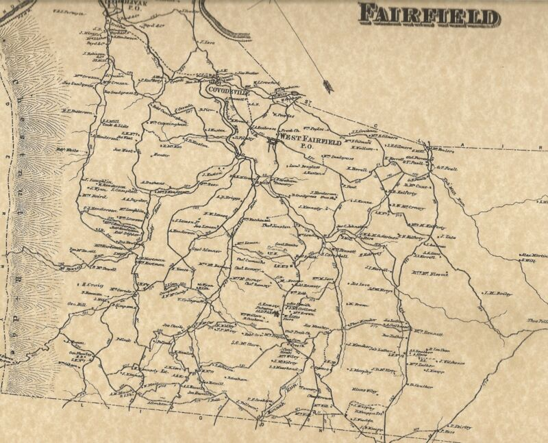 Fairfield Bolivar Lockport West Fairfield PA 1867 Maps Landowners Names Shown