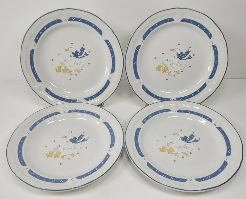 """4 Vintage Home Style Country Goose Geese Stoneware China 7.5"""" Plates"""