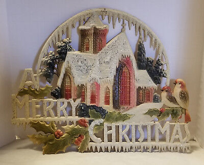 Rare Vintage Merry Christmas Cut Out Stand Up Pressed Paper Glitter Decoration](Christmas Cut Out Decorations)