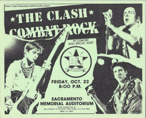 THE CLASH Original Concert Handbill Flyer Sacramento  CA 1982