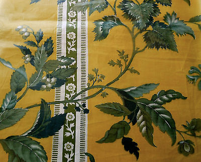 Antique 1850 French or English  Floral Chintz Fabric~ Mustard Blue Gray - English Floral Chintz