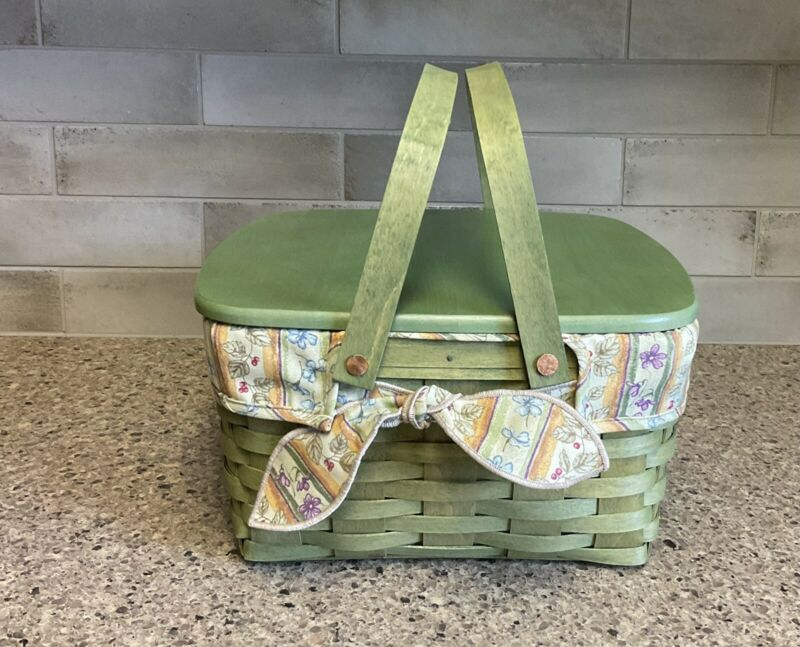 Longaberger Cake Basket Sage Green Set with Lid Liner Protector