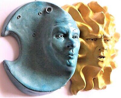 Handmade Moon & Sun Wall Sculpture, Mask Style Wall Art for Home or Garden