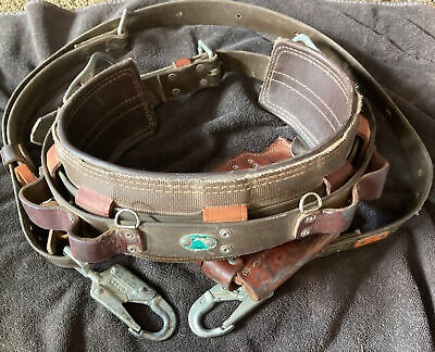 Bashlin Linemans Climbing Belt. Size D26. W Lanyard Tool Pouch. Preowned.