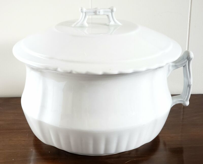 Antique White Ironstone Lidded Chamber Pot Johnson Brothers England ~ Early 1900