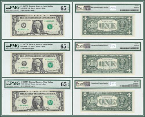 Consecutive Star 1977A $1 Federal Reserve Note Dollar (3) PMG 65 EPQ Gem Unc