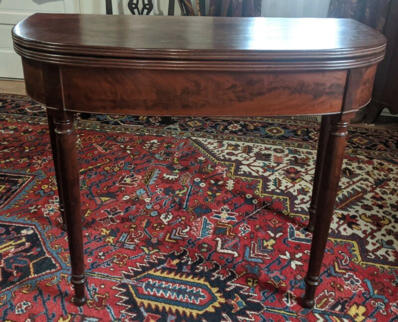 Antique Sheraton Game Table 19th Century American Baltimore Mahogany