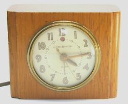 1930's Alarm Clock GE General Electric, Wood Block, Model 7H162, Art Deco, Works