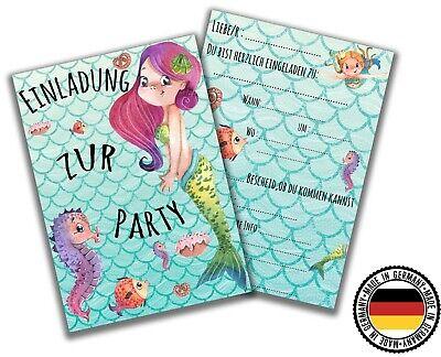 Meerjungfrau Geburtstagseinladungen Kindergeburtstag Party Einladung Mädchen x12 ()