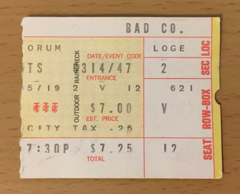1975 BAD COMPANY LOS ANGELES CONCERT TICKET STUB STRAIGHT SHOOTER PAUL RODGERS 1