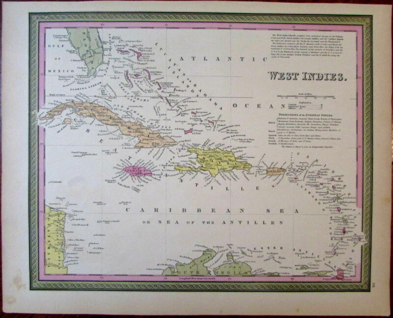 West Indies Caribbean Sea Antilles 1851 Cowperthwait Mitchell scarce map