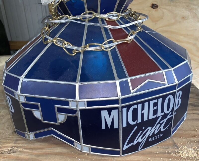 VINTAGE HANGING STAINED GLASS PLASTIC BAR GAME ROOM LIGHT MICHELOB BEER LITE