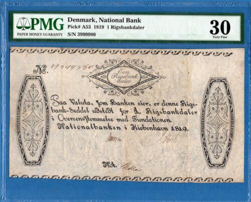 Denmark, 1 Rigsbankdaler, 1819, VF-PMG30, P-A53