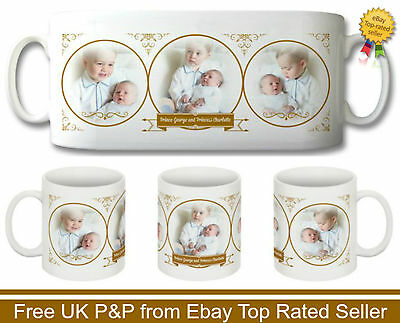 NEW PRINCE GEORGE & PRINCESS CHARLOTTE FIRST PHOTO'S COMMEMORATIVE 10 oz MUG