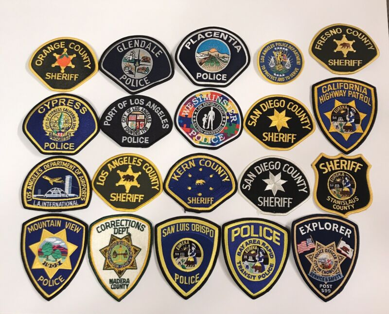 Lot Of 20 California Police Dept Patches Trader Lot