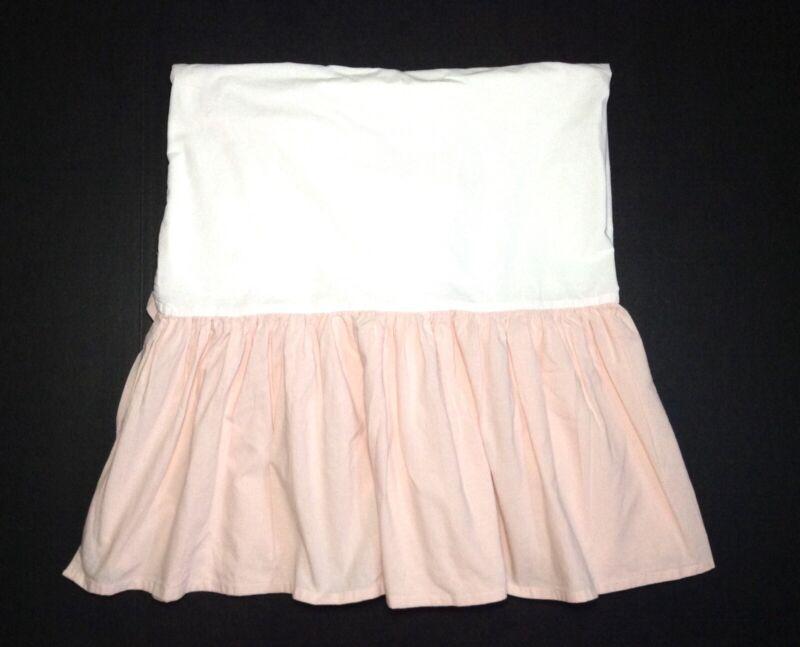 Restoration Hardware Crib Skirt Pink Petal Cotton Linen Ruffled Bedskirt Baby