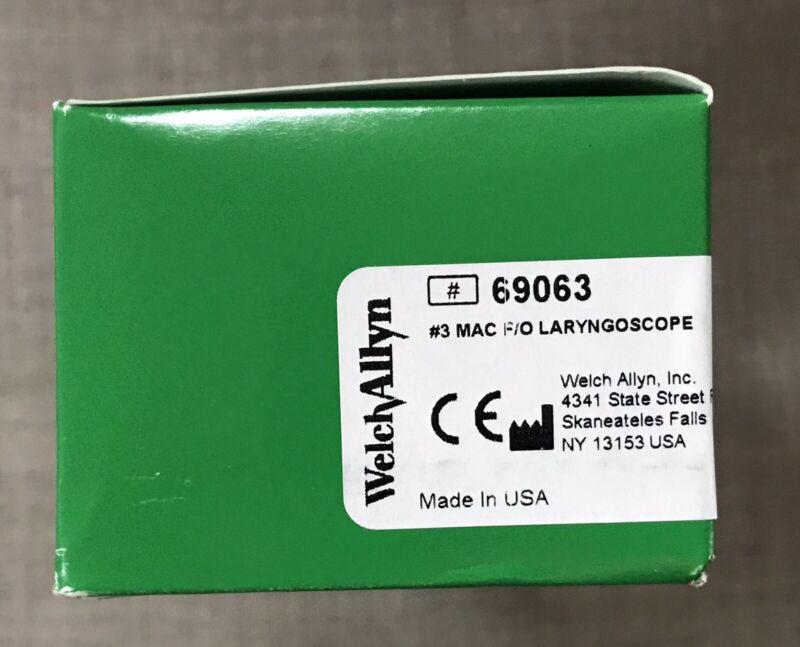Welch Allyn 69063 #3 MacIntosh Fiber Optic Laryngoscope Blade NIB