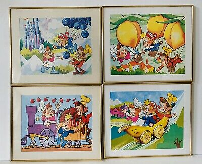 Vintage Set of 4 1983 Framed Kellogg Snap Crackle Pop Prints