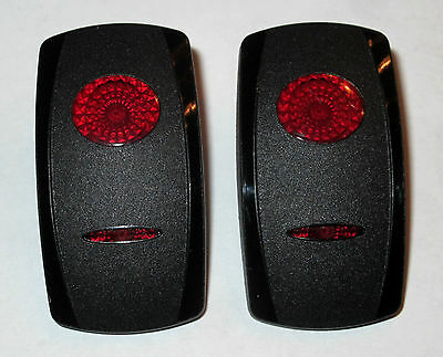 Contura Switch Actuator - New Pair (2) Carling Contura Actuator Rocker Switch Cover Black 2 Red Lens