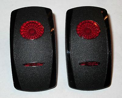 Contura Switch Actuator - New Pair (2) Carling Contura Actuator Rocker Switch Cover Black 2 Red Lens