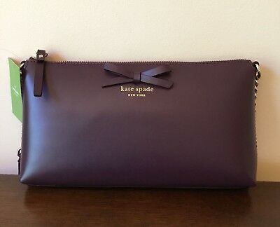 NWT! Kate Spade Sawyer Street Declan Mahogany Leather Crossbody Purse BOW $248
