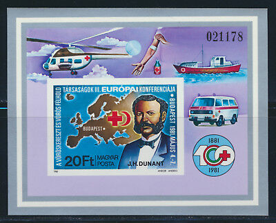 HUNGARY 1981 HENERY DUNANT RED CROSS FOUNDER IMPERF S/S SCOTT 2695 $23