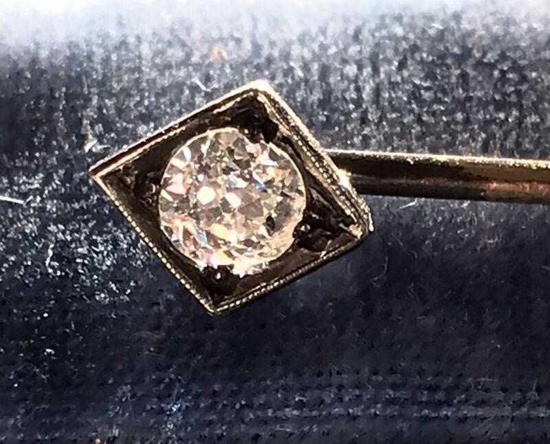Antique 14k Old Mine Cut OMC Diamond Stick Pin