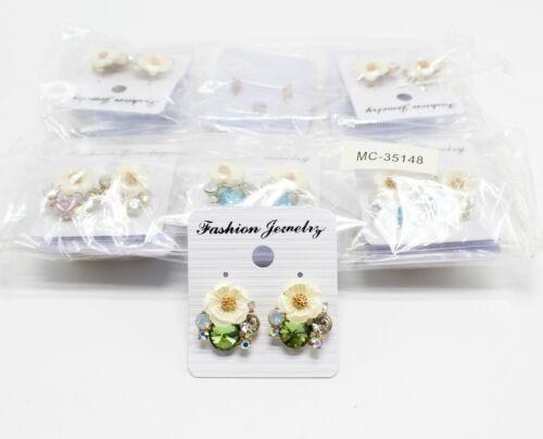 Wholesale Dozen Rhinestone Flower Post Back Earrings #MC35148-12