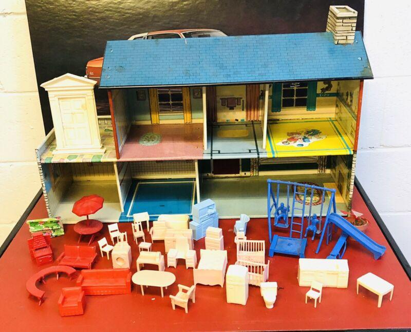 Vintage 1950s Marx Toys Metal Doll House Tin Litho W/rare Furniture No.1402 4054