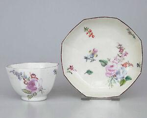 18thC Chelsea Porcelain Octagonal Tea Bowl & Saucer Red Anchor Period 1752-1756