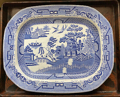 Maker Unknown 1950/'s Vintage English Blue Willow 6 12 Plate