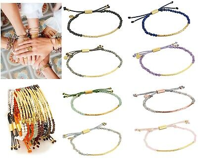 NEW GORJANA Power Gemstone Beaded Friendship  Bracelet Gold Silver Many