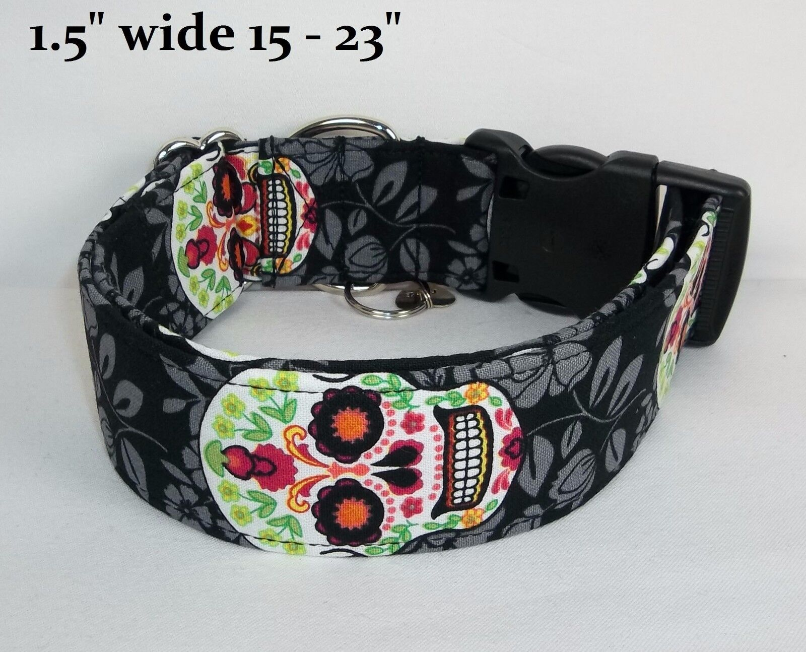 Bright Sugar Skulls Terri's Dog Collar custom made adjustabl